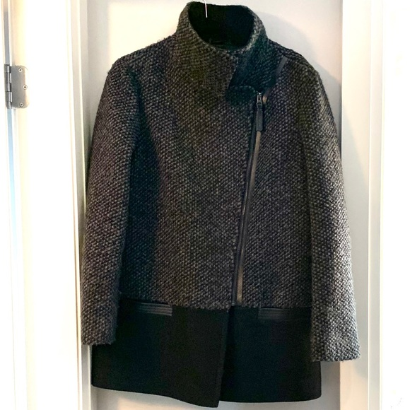 Mackage Jackets & Blazers - MACKAGE Wool Winter Pea Coat Charcoal Leather Trim